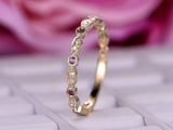 Amethyst Diamond Wedding Band Half Eternity Anniversary Ring 14K Rose Gold