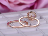 Round Morganite Engagement Ring Sets Pave Diamond Wedding 14K Rose Gold 8mm