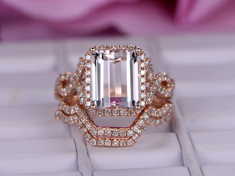 Emerald Cut Morganite Engagement Ring Trio Sets Diamond Infinite Love Shank 14K Rose Gold 8x10mm