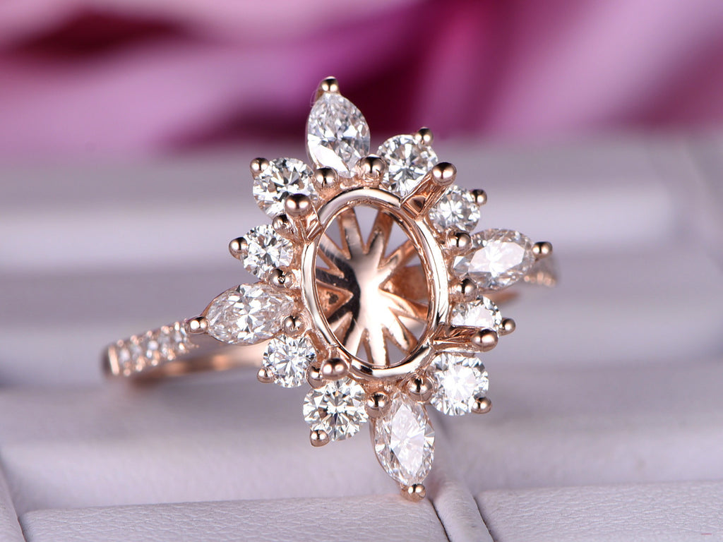 Reserved for AAA  Marquise Diamond Halo Engagement Semi Mount Ring 14K Rose Gold Marquise 4x8mm