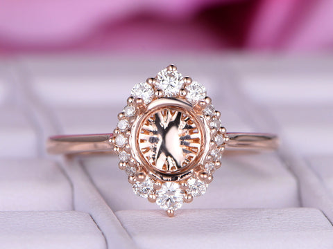 Engagement Semi Mount Ring Graduated Diamond Halo 14K Rose Gold Round 6.5mm