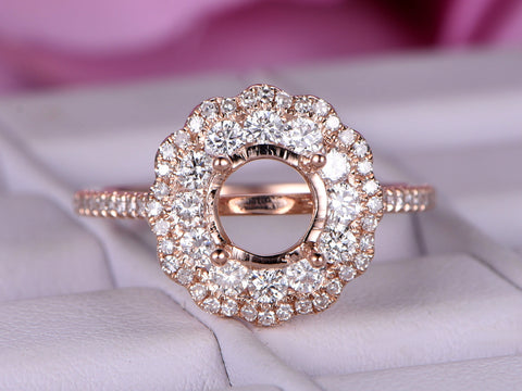 Reserved for AAA Diamond Double Halo Semi Mount Cathedral Ring 14K Rose Gold 6.5mm Round