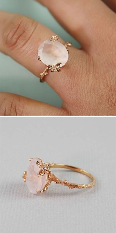 Reserved for emdnubian69 Oval Morganite Engagement Euro Shank 14K Rose Gold - Lord of Gem Rings - 1