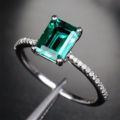 Emerald Shape Emerald Engagement Ring Pave Diamond Wedding 14K White Gold 6x8mm - Lord of Gem Rings - 2