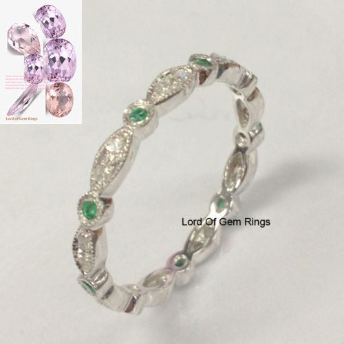 Reserved for azaigone  Pave Emerald Diamond Wedding Band Eternity Anniversary Ring 14K White Gold - Lord of Gem Rings - 1