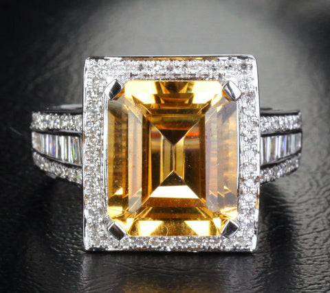 Reserved for ITU Emerald Cut  Citrine Ring 14K White Gold 10x12mm