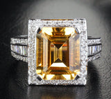 Reserved for ITU Emerald Cut  Citrine Engagement Ring 14K White Gold