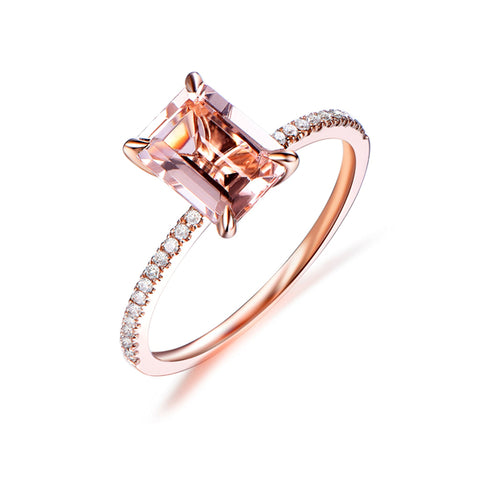 1.5ct Emerald Cut Morganite Ring Pave Diamond Shank 14K Rose Gold 6x8mm
