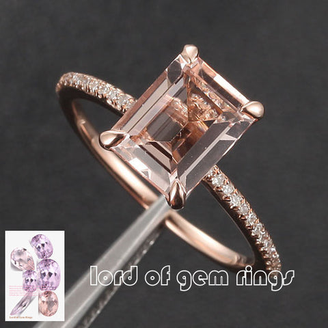 Ready to Ship - Emerald Cut Morganite Engament Ring Pave Diamond Wedding 14k Rose Gold 6x8mm: 14KR-EmMorg-0Halo68 - Lord of Gem Rings - 1
