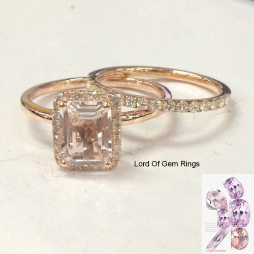 Emerald Cut Morganite Engagement Ring Sets Pave Moissanite Wedding Band 14K Rose Gold 6x8mm - Lord of Gem Rings - 1