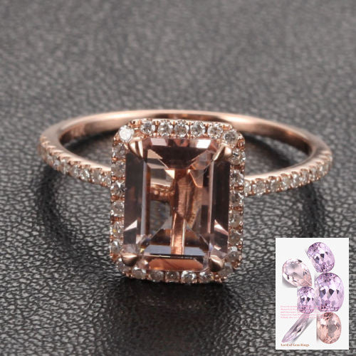 Ready to Ship -5x7mm Emerald Cut Morganite &  Pave Diamond Halo Engagement Ring 14K Rose Gold: 14KR-EmMorg-57 - Lord of Gem Rings - 1