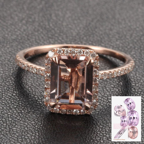 Reserved for  oneionegemm Emerald Cut Morganite Engagement Ring Pave Diamond 14K Rose Gold - Lord of Gem Rings - 1