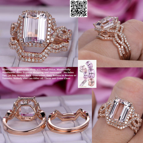 Reserved for Jennifer  Emerald Cut Morganite Ring Trio Sets Diamond Infinite Love Band 14K Rose Gold 8x10mm