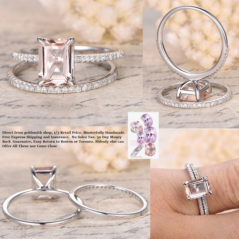 Reserved for Joell Emerald Cut Morganite Engagement Ring Forever Together Sets Diamond Ring Guard 14K White Gold
