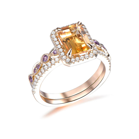 Emerald Cut Citrine Engagement Ring Sets Amethyst Wedding Band 14K Yellow Gold 6x8mm  Art Deco