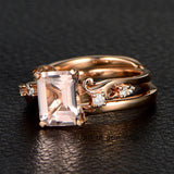 Emerald Cut Morganite Engagement Ring 14K Rose Gold 7x9mm Vintage Style - Lord of Gem Rings - 3