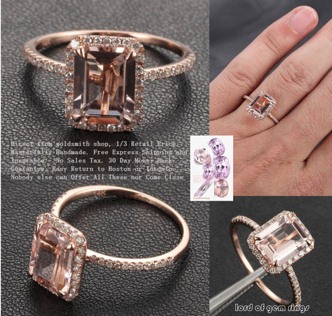 Emerald Cut Morganite Engagement Ring Pave Diamond Halo 14K Rose Gold 6x8mm - Lord of Gem Rings - 1