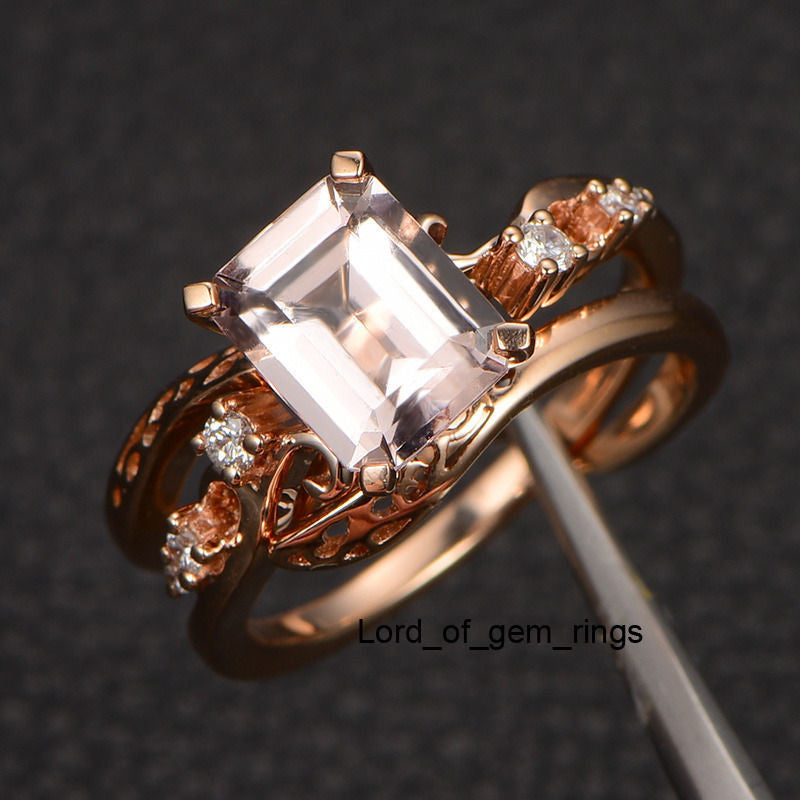 Emerald Cut Morganite Engagement Ring 14K Rose Gold 7x9mm Vintage Style - Lord of Gem Rings - 1