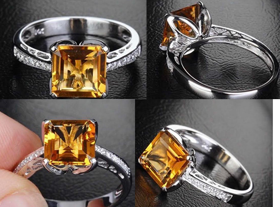 Reserved for ITU  Asscher Citrine Cathedral Ring  Diamond shank 14K Gold 7mm