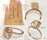 Oval Morganite Engagement Ring Pave Diamond Wedding 14K Rose Gold 9x11mm  Prong Setting - Lord of Gem Rings - 1