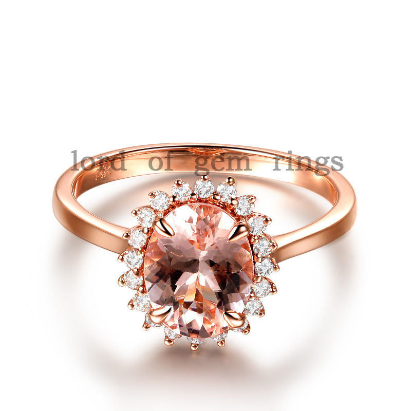 Oval Morganite Engagement Ring Diamond Halo 14K Rose Gold 6x8mm Flower Design - Lord of Gem Rings - 1