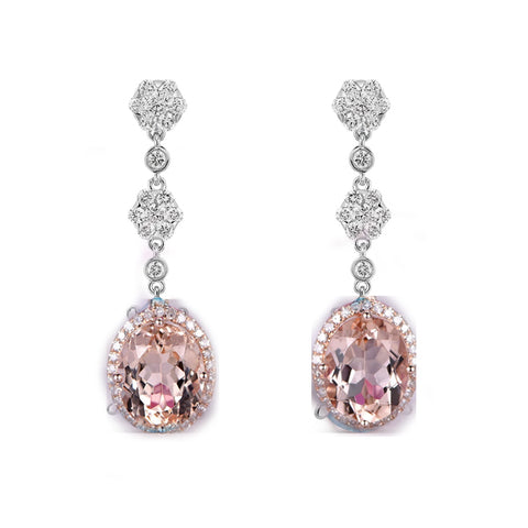 Reserved for gy- Matching Earrings for Oval Morganite Engagement Ring Diamond Halo 14K Rose Gold 10x12mm