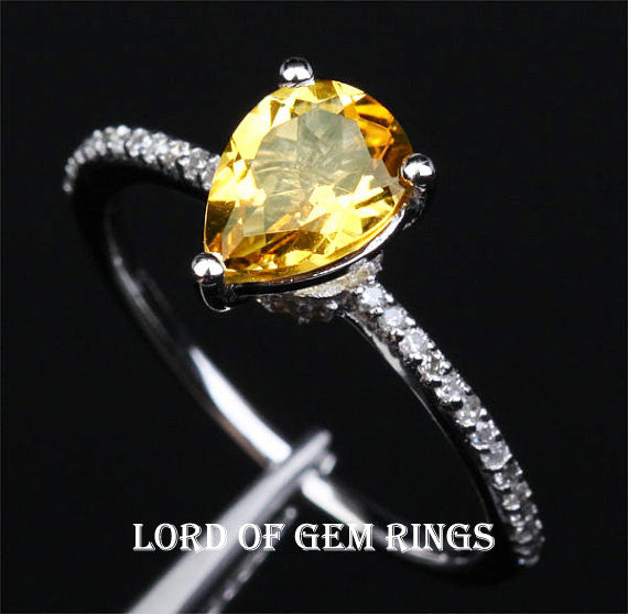 Pear Citrine Engagement Ring Pave Diamond Wedding 14K White Gold 6x8mm - Lord of Gem Rings - 1