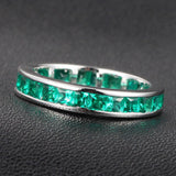 Princess Emerald Wedding Band Eternity Anniversary Ring 14K White Gold Channel Set - Lord of Gem Rings - 3