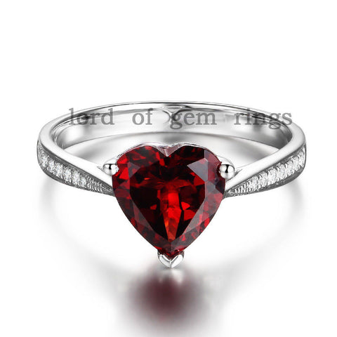 Heart Red Garnet Emagement Ring Pave Diamond Wedding 14K White Gold 8mm - Lord of Gem Rings - 1