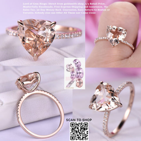 Reserved for JY Heart Shaped Pink Morganite Engagement Ring in 14K Rose Gold 9mm