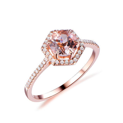 Hexagon Diamond Halo 7mm Round Morganite Engagement Ring 14k Rose Gold