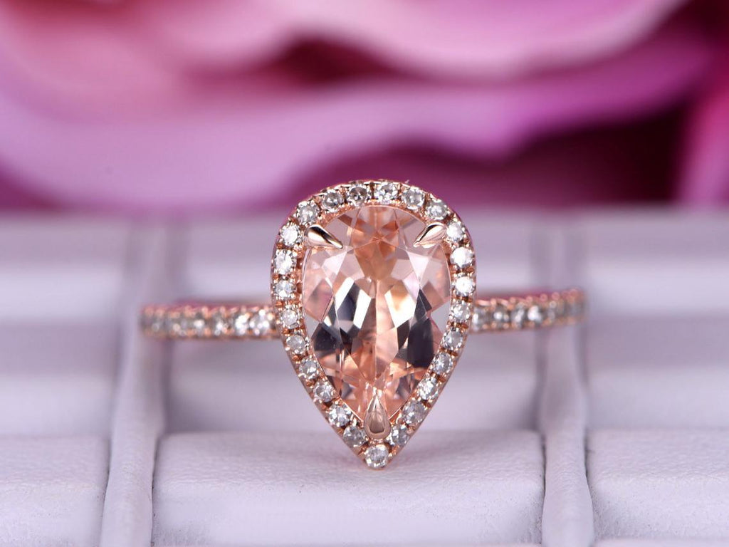 6x9mm Pear Morganite Engagement Ring 0.22ctw Pave Diamond Wedding Band 14K Gold