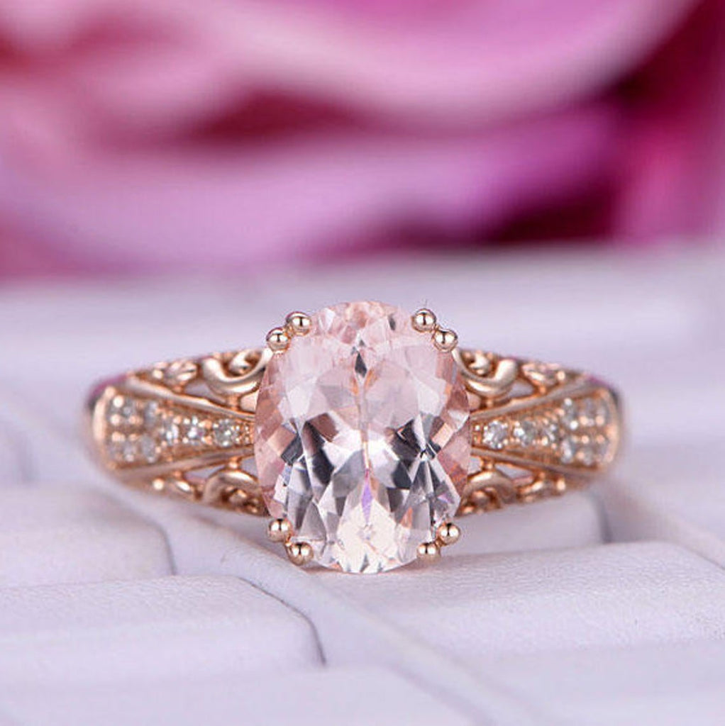 8x10mm Oval Morganite Engagement Ring Celtic Filigree Shank 14K Rose Gold