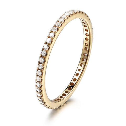 Pave Diamond Wedding Band Eternity Anniversary Ring 14K Yellow Gold VVS-H 0.27ct Diamonds - Thin Design - Lord of Gem Rings - 1