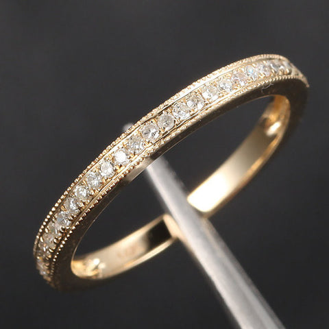Pave Diamond Wedding Band Half Eternity Anniversary Ring 14K Yellow Gold - Milgrain - Lord of Gem Rings - 1