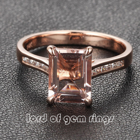 6x8mm Emerald Cut Morganite & Diamonds Engagement Ring in 14K Rose Gold - Lord of Gem Rings - 1