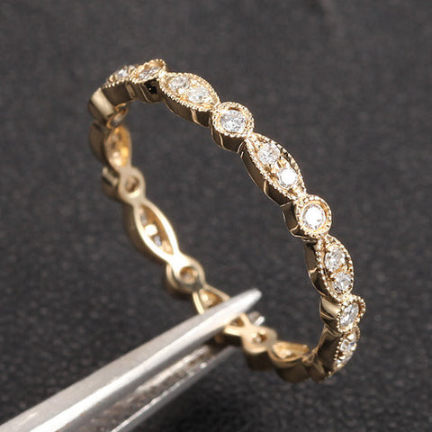 Pave Diamond Wedding Band Eternity Anniversary Ring 14K Yellow Gold  -VVS/H Diamonds Vintage Art Deco - Lord of Gem Rings - 1