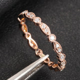 Pave Diamond Wedding Band Eternity Anniversary Ring 14K Rose Gold - SI/H Art Deco Antique Milgrain - Lord of Gem Rings - 4