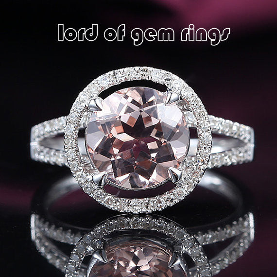Ready to Ship - Round Morganite Engagement Ring Pave Diamond Wedding 14K White Gold 8mm Split Shank - Lord of Gem Rings - 1