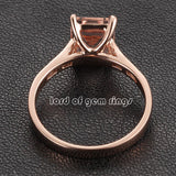 6x8mm Emerald Cut Morganite & Diamonds Engagement Ring in 14K Rose Gold - Lord of Gem Rings - 3