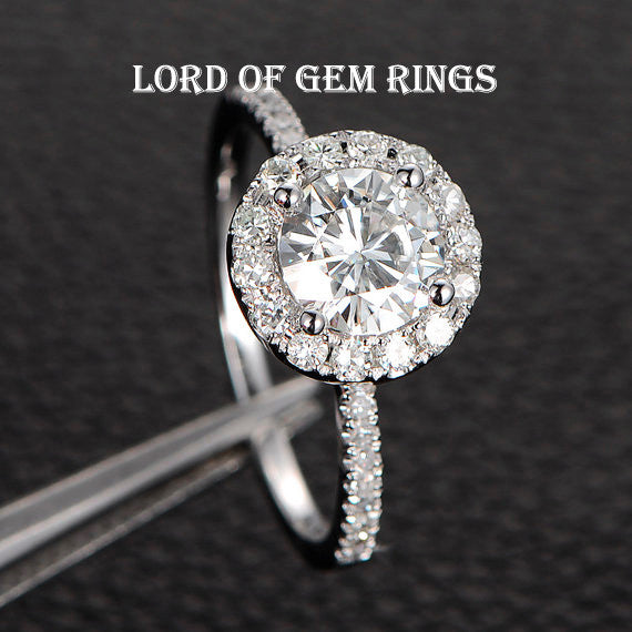 Round  Moissanite Engagement Ring Pave Moissanite Wedding 14K White Gold 6.5mm - Lord of Gem Rings - 1