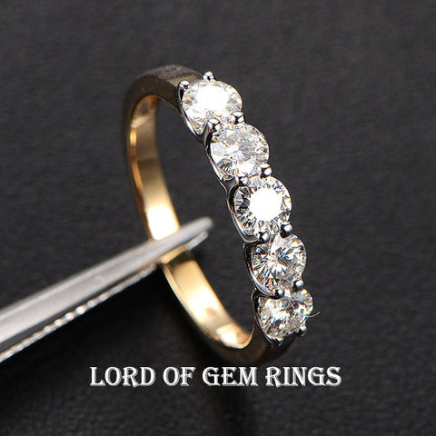 Ready to Ship: 14K Two-Tone Gold 5-Stone Moissanite Wedding Band Anniversary Ring  3.5mm Round - Lord of Gem Rings - 1