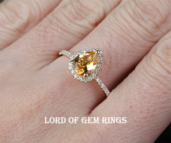 Pear Citrine Engagement Ring Pave Diamond Wedding 14k Yellow Gold - Lord of Gem Rings - 1