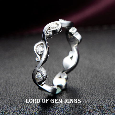 Diamond Wedding Band Eternity Anniversary Ring 14K White Gold Channel Set - Lord of Gem Rings - 1