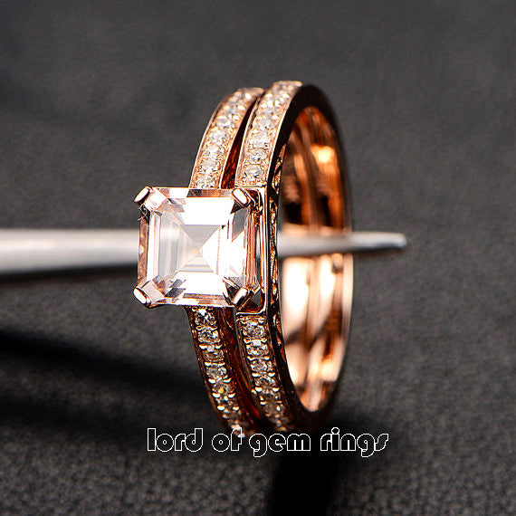 Asscher Morganite Engagement Ring Sets Pave Diamond Wedding 14K Rose Gold 6.5mm - Lord of Gem Rings - 2