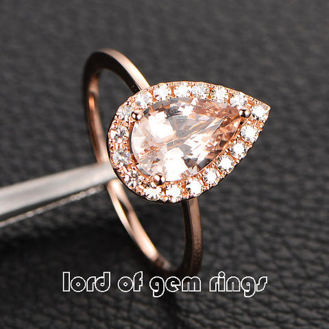Pear Morganite Engagement Ring Moissanite Halo 14K Rose Gold 6x8mm - Lord of Gem Rings - 1