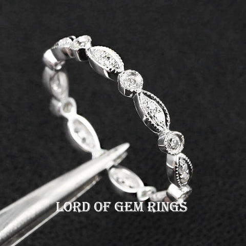 Ready to Ship-Pave Diamond Wedding Band Eternity Anniversary Ring 14K White Gold - SI/H Art Deco Antique Milgrain: 14KW-C1M2 - Lord of Gem Rings - 1