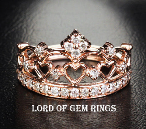 Diamond Wedding Band Engagement Ring 14K Rose Gold Heart Crown - Lord of Gem Rings - 1