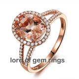 Ready to Ship - Oval Morganite Engagement Ring Pave Diamond Wedding 14K Rose Gold 6x8mm Split Shank:14KR-OvalMorg68-Split - Lord of Gem Rings - 2