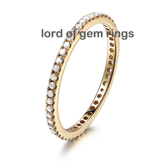 Pave Diamond Wedding Band Eternity Anniversary Ring 14K Yellow Gold VS-H 0.27ct - Thin Design - Lord of Gem Rings - 1